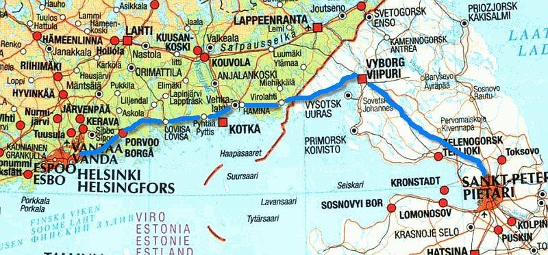 Расстояние от Питера до Финляндии